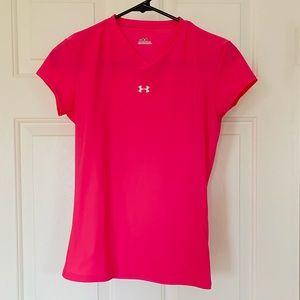 Pink under armour v neck running shirt